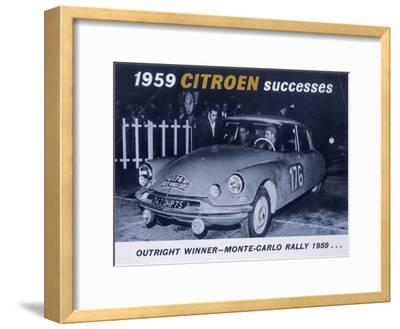 Poster Advertising the Citroën Monte Carlo Rally Winner, 1959