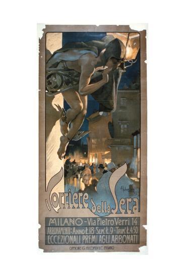 Poster Advertising the 'Corriere Della Sera', Printed in Milan, 1898-Adolfo Hohenstein-Giclee Print