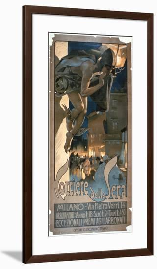 Poster Advertising the 'Corriere Della Sera', Printed in Milan, 1898-Adolfo Hohenstein-Framed Giclee Print