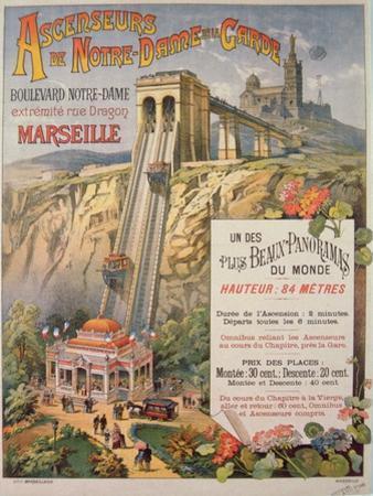 Poster Advertising the Elevator of Notre-Dame De La Garde, Marseilles, C.1900