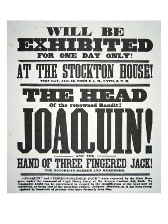 Poster Advertising the Exhibition of 'The Head of the renowned bandit  Joaquin' Giclee Print by | Art com