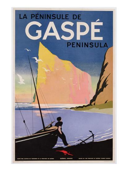 Poster Advertising the Gaspe Peninsula, Quebec, Canada, C.1938 (Colour Litho)- Canadian-Premium Giclee Print