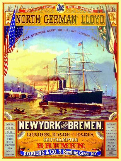 big sale amazing price official photos Poster Advertising the North German Lloyd Line, 1883 Giclee Print by German  School | Art.com