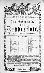 "Poster Advertising the Premiere of ""The Magic Flute"" by Mozart at the Freihaustheater, 1791"
