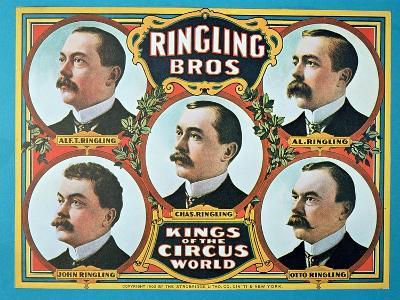 Poster Advertising the 'Ringling Bros. Kings of the Circus World', 1905 (Colour Litho)-American-Giclee Print