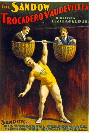 Poster Advertising The Sandow Trocadero Vaudevilles C.1894--Giclee Print