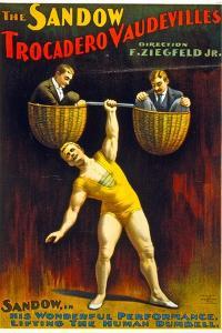 Poster Advertising The Sandow Trocadero Vaudevilles C.1894