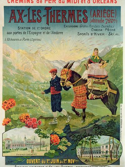 Poster Advertising the Ski Resort of Ax-Les-Thermes, France, C.1900--Giclee Print