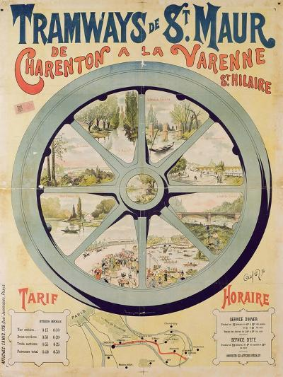 Poster Advertising the Tramways De St. Maur from Charenton to La Varenne-Saint-Hilaire, 1894--Giclee Print