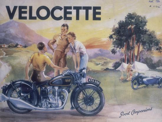 Poster Advertising Velocette Motor Bikes, 1936--Giclee Print
