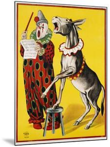 Poster Depicting a Clown and Donkey Singing