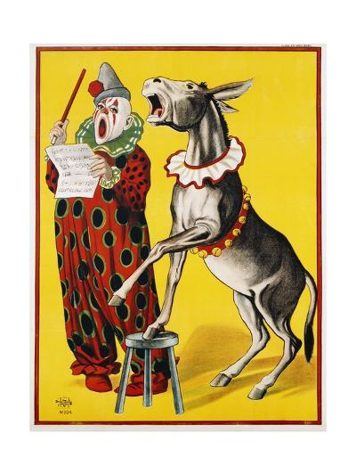Poster Depicting a Clown and Donkey Singing--Giclee Print