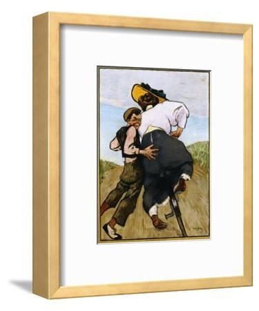 Poster Depicting a Man Helping a Female Cyclist by Willy Sluiter
