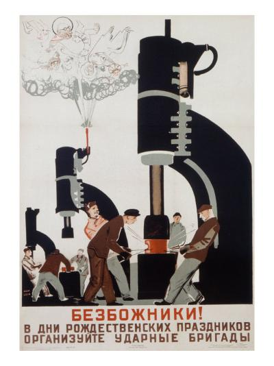 Poster Depicting a Soviet Factory, 1931--Giclee Print