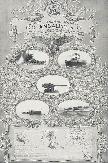 Poster for Ansaldo Shipyards in Genoa, 1912, Italy, 20th Century--Giclee Print