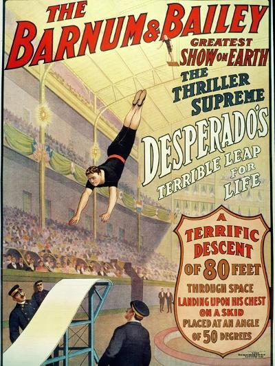 """Poster for Barnum and Bailey's Circus Showing Desperado's """"Terrible Leap for Life""""--Giclee Print"""