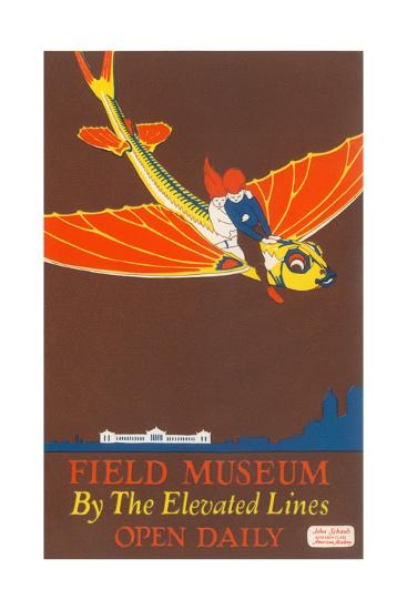 Poster for Field Museum with Children on Giant Koi--Giclee Print