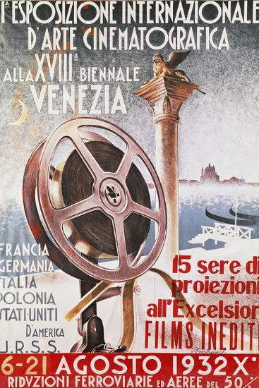 Poster for First Venice Film Festival for 18th Biennial of Venice, 1932, Italy, 20th Century--Giclee Print