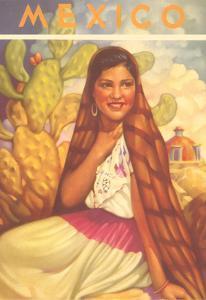 Poster for Mexico, Senorita with Cactus