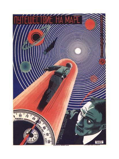 Poster for the Film Travel to Mars, 1926-Nikolaj Prusakov-Giclee Print