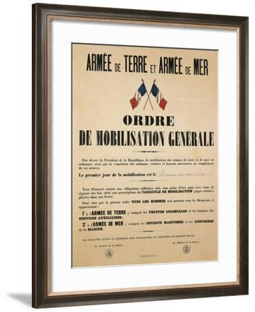 Poster from World War I Ordering General Mobilization, Sunday, August 2, 1914--Framed Giclee Print