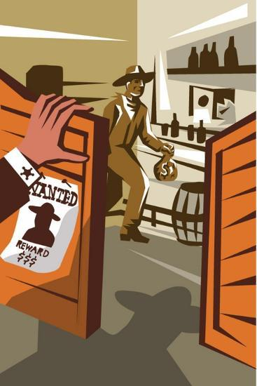 Poster Illustration of an Outlaw Cowboy Robber Holding Bag of Money Stealing from Saloon with Hand-patrimonio designs ltd-Art Print
