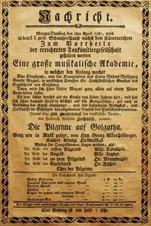 Poster of Great Music Academy for April 3, 1781, with Symphony by Wolfgang Amadeus Mozart