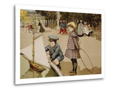 Poster of Kids Sailing Toy Sailboat by Abel Truchet