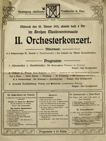 Poster of Society of Friends of Music in Vienna in 1905, with Music by Arnold Schoenberg