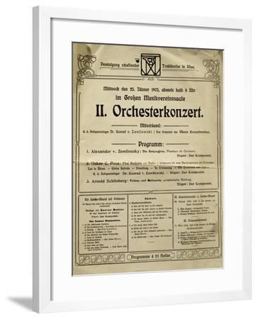 Poster of Society of Friends of Music in Vienna in 1905, with Music by Arnold Schoenberg--Framed Giclee Print