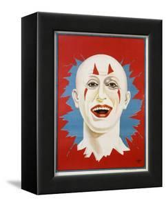 Poster of Stock Clown Head with Red Background