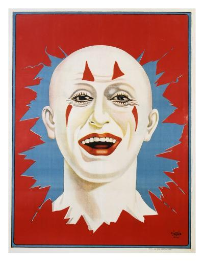 Poster of Stock Clown Head with Red Background--Giclee Print