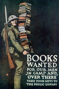 Poster of the American Association of Libraries for Supplying Books to the Troops on Service