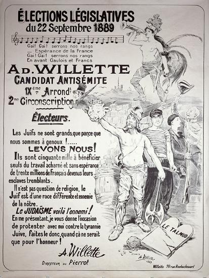 Poster Promoting the Election of the Artist in the Legislative Elections of September 1889-Adolphe Leon Willette-Giclee Print