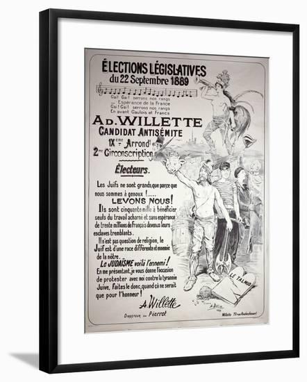 Poster Promoting the Election of the Artist in the Legislative Elections of September 1889-Adolphe Leon Willette-Framed Giclee Print
