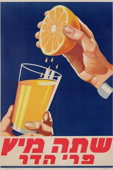 Poster with a Glass of Orange Juice, C.1947 (Colour Litho)-Israeli-Premium Giclee Print