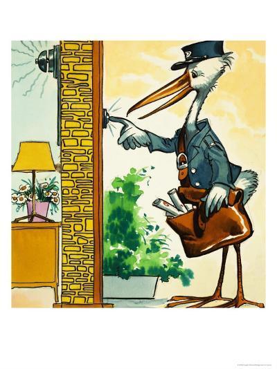 Postman Stork Rings the Bell--Giclee Print