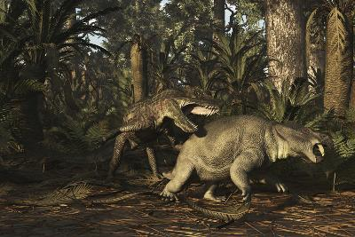 Postosuchus Attacking a Dicynodont in a Triassic Forest-Stocktrek Images-Art Print