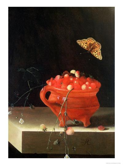 Pot of Wild Strawberries-Adrian Coorte-Giclee Print
