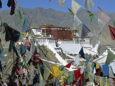 Potala Palace, UNESCO World Heritage Site, Seen Through Prayer Flags, Lhasa, Tibet, China-Gavin Hellier-Photographic Print