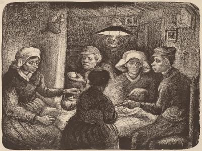 Potato Eaters, 1885 (lithograph in dark brown)-Vincent van Gogh-Giclee Print
