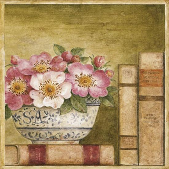 Potted Flowers with Books IV-Eric Barjot-Art Print