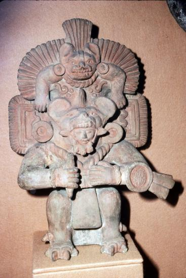 Pottery. Bat-God: pottery with red paint. Zapotec culture, Mexico, 300-900 AD-Unknown-Giclee Print