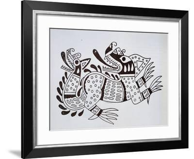 Pottery Design Depicting a Dragon, Artefact from Peru--Framed Giclee Print