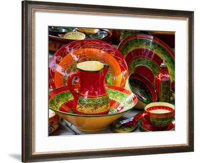 Pottery for Sale at a Market Stall, Lourmarin, Vaucluse, Provence-Alpes-Cote D'Azur, France--Framed Photographic Print