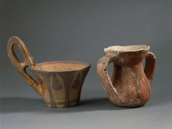 Pottery Vessels with Geometric Decorations, from Sicily Region, Italy--Giclee Print
