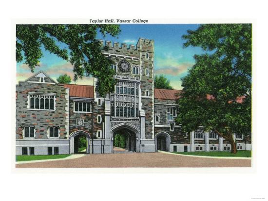 Poughkeepsie, New York - Exterior View of Taylor Hall, Vassar College-Lantern Press-Art Print
