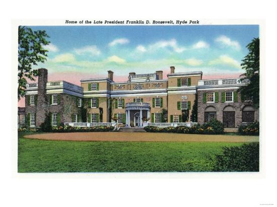 Poughkeepsie, New York - Hyde Park View of President FDR's Mansion-Lantern Press-Art Print