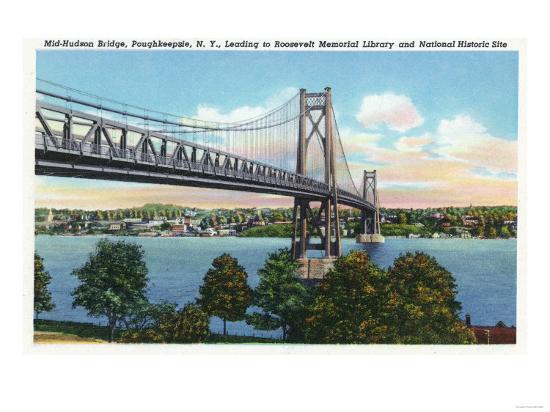 Poughkeepsie, New York - Mid-Hudson Bridge to Roosevelt National Historic Site-Lantern Press-Art Print