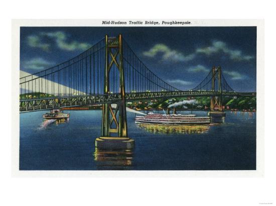 Poughkeepsie, New York - Night View of Mid-Hudson Traffic Bridge-Lantern Press-Art Print